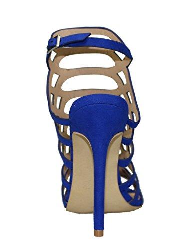Women's Peep Toe Cage Cut Out Slingback Stiletto High Heel Sandal blue velveteen IvM8sMVe