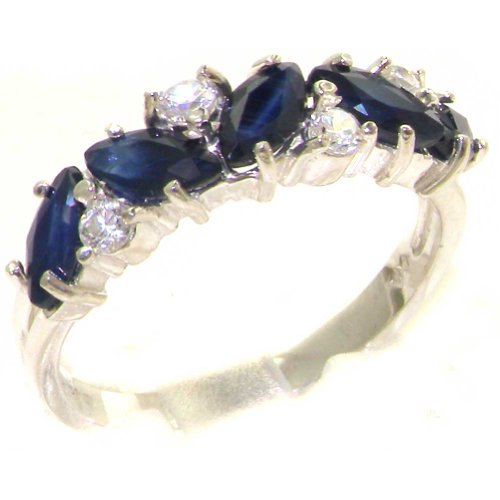 Diamond 14k Gold Estate Ring (14k White Gold Natural Sapphire and Diamond Womens Eternity Ring (0.14 cttw, H-I Color, I2-I3 Clarity))