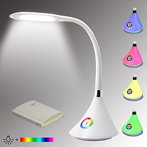 ALIDE Multifunction Led Desk Lamp,Colors Changing,Eye-Protection Reading Light,Adjustable Neck,Touch Control,3 Dimmable Levels Daylight Bedside Nightstand Table Lamp for Kids Bedroom Studying Working