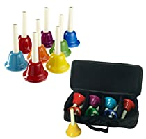 Rhythm Band 8 Note Metal Hand Bells - Set of 8 with Case for 8-Note Hand bells Holds 8 Metal Hand Bells