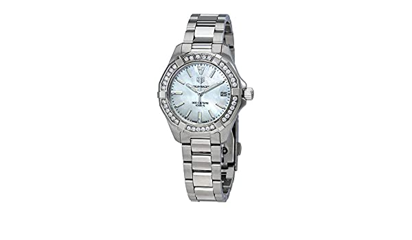 TAG Heuer Aquaracer Reloj de mujer diamante cuarzo 32mm de acero WBD1313.BA0740: Amazon.es: Relojes