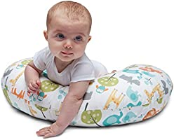 Boppy- Cojín de lactancia algodón, ergonómico, indeformable y optima adaptabilidad, de 0 a 12 meses, estampado Jungle