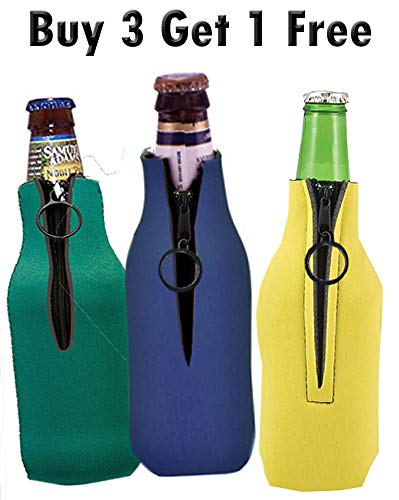 (Zippered Neoprene Bottle Coolers Set of 3, PLUS BONUS 1 Free (Total of 4) Excellent Quality)