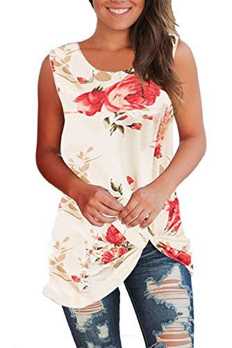(WFTBDREAM Women's Sleeveless Round Neck Floral Print Shirt Tops Tee Tanks White S)