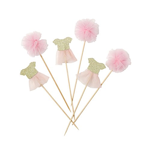 Talking Tables We Heart Pink Pom Pom U0026 Tutu Cake Toppers For Any Childrenu0027s  Party, Pink/Gold (12 Pack)