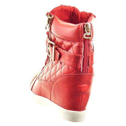 Sopily - Chaussure Mode Basket Compensées Cheville femmes matelassé chaïnes boucle Talon compensé 8 CM - Rouge