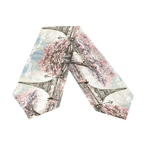 (WOOR Double-Sided Street Cherry Blossom Paris Eiffel Tower Oil Painting Art Table Runner 13 x 90 Inches Long,Table Cloth Runner for Wedding Party Holiday Kitchen Dining Home Everyday Decor)
