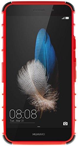 Funda Huawei P8 Lite 2015, G-Shield Carcasa Extremo Protección [Con Soporte] [Anti-Arañazos] [Anti-Choque] [Muy Resistente] Híbrida a Prueba de Golpes Case Cover Para Huawei P8 Lite (2015/16) - Negro Rojo