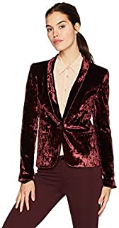 product image for James Jeans Women's Tuxedo Jacket Velveteen Blazer in Rouge Crushed Velvet