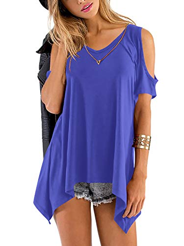 - Beluring Women Summer Cold Shoulder T Shirts Cut Out Tops V Neck Tunic(Blue,S)
