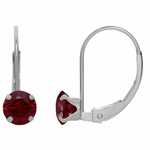 5MM Round Natural Red Garnet 10K White Gold Leverback Earrings (Garnet White Earrings Gold)