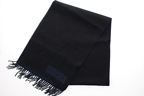 Coach Men's 84080 Lozenge Muffler Scarf 100% Cashmere (Black/Blue) by Coach (Image #2)
