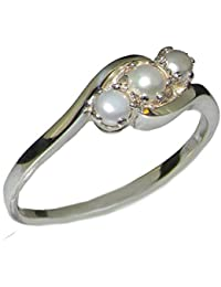 10k white gold cultured pearl womens trilogy ring sizes 4 to 12 available - Pearl Wedding Rings