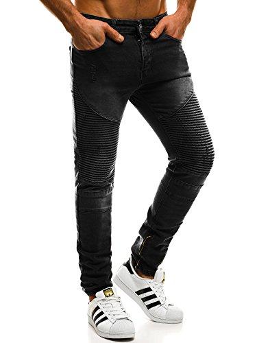OZONEE Hombre Pantalones Vaqueros Pantalón Chándal Pantalones Deportivos Pantalones de Ocio Pantalón chándal Jogger Otantik 1805 Negro _ Ozonee _ Tac-at005