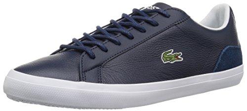 Lacoste Men's Lerond Sneaker, Navy White Leather, 10.5 Medium US