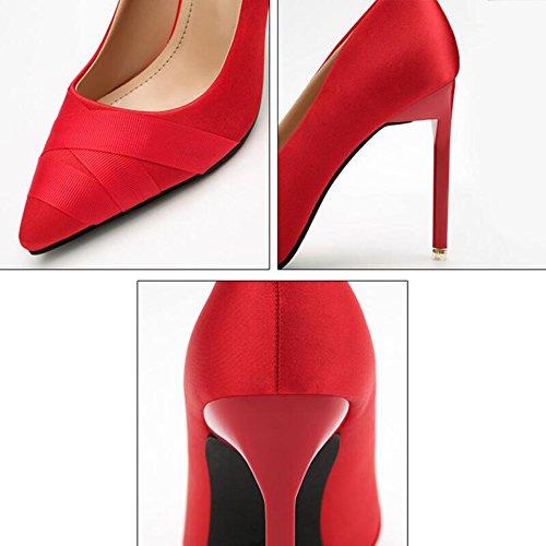 Femmes Talons Bouts Satin Sexy Dames Sandales Pompes Chaussures Ol Astuce Pour Profonds Peu Hauts Professional Gris Discothque xTXTB6wqS