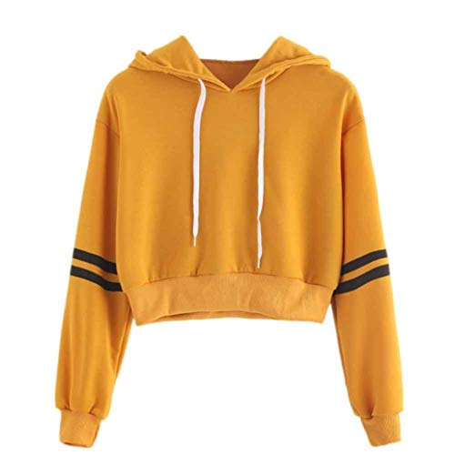 Hoodies, Women Varsity Striped Long Sleeve Pullover Crop Top Drawstring Crop Jumper (Yellow, L) (Striped Satin Banana)