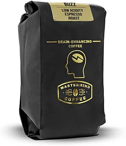 Alkaline Buzz - Brain Enhancing WHOLE BEAN Espresso Roast - 100% Organic Low Acidity Coffee - Heightens Mental Acuity, Improves Memory & Focus - Impossibly Delicious! (10 oz)