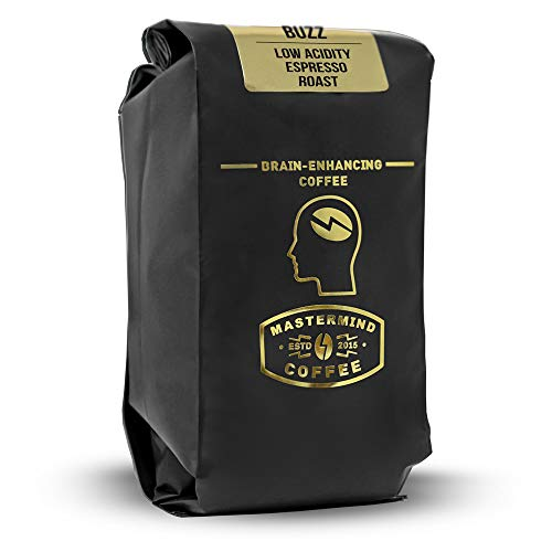 Alkaline Buzz - Brain Enhancing GROUND Espresso Roast - 100% Organic Low Acid Coffee - Heightens Mental Acuity, Improves Memory & Focus - Impossibly Delicious! (10 oz)