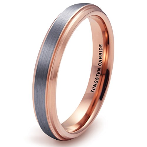 4mm Silver Tungsten Carbide Ring Brushed Center Rose Gold Plated Wedding Band(9) Brushed Silver Step