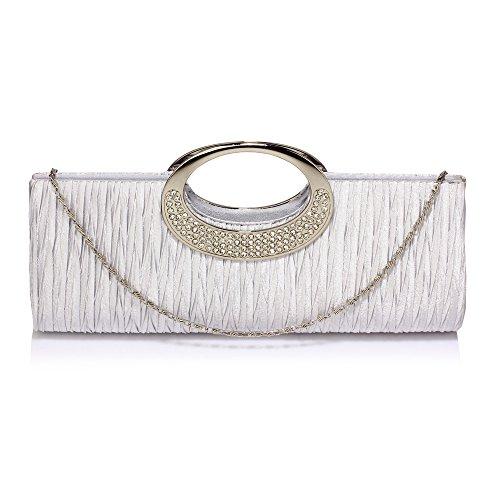 For club Womens Rhinestone Silver Pleated Bag Party Evening Wedding Diamante Satin Design Handbag Clutch Ladies 1 Bgp7xzB