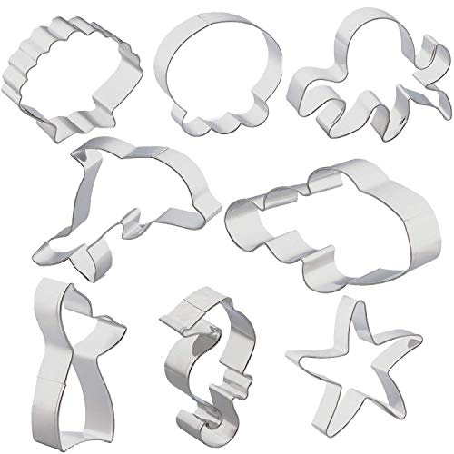 Antallcky Sea Life Cookie Cutters Set-8 Pack Cookie Cutters Mermaid/Whale Tail, Dolphin, Octopus, Jellyfish, Clownfish, Seahorse, Starfish and Seashell Sea Animal Shape Biscuit Fondant Cutters -