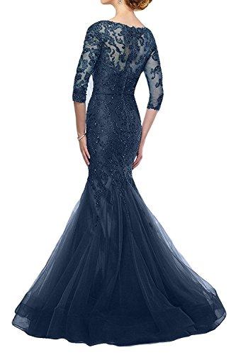 Marie Braut Dunkel Abendkleider Lila Spitze V Blau Meerjungfrau La Promkleider Brautmutterkleider Ausschnitt Tief wSqn5RwAd
