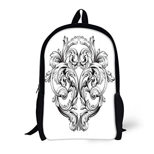 Pinbeam Backpack Travel Daypack Baroque of Vintage Filigree You for Wedding Laser Waterproof School Bag