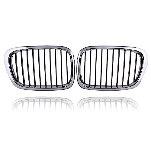 2x Euro Front Center Kidney Grille Grill Replacement for BMW Car 97-03 E39 5-Series 520 523 525 528 530 535 540 M5 4DR 4 Door (Chrome Black)