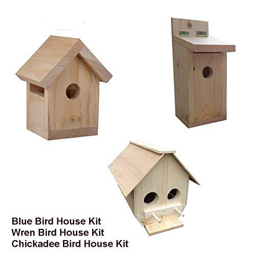 CraftKitsAndSupplies 3 Assorted Outdoor Bird House Kits (Bluebird, Wren, Chickadee)