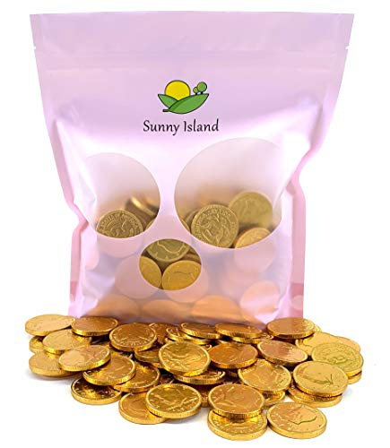 Sunny Island Bulk - Milk Chocolate Gold Coins Candy, Individually Wrapped, 2 Pounds Bag