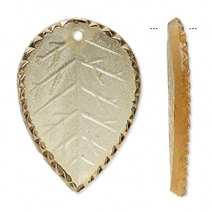 Focal Czech pressed glass honey and gold 36x26mm leaf