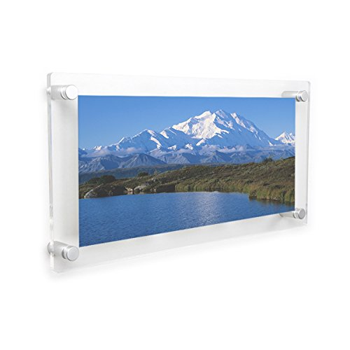 NIUBEE Clear Acrylic Wall Mount Floating Frameless Picture Frame 8x16'' for Degree Certificate Photo Frames-Double (Panel Photo Christmas Cards)