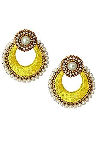 (Silk Thread Chandbali Earrings With Designer Studs Beautiful Earrings - Lemon Yellow)