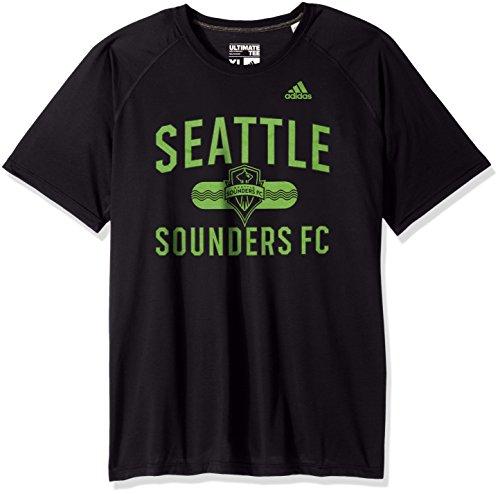 adidas MLS Seattle Sounders FC Adult Men Sprint Ultimate S/Tee, Large, Black