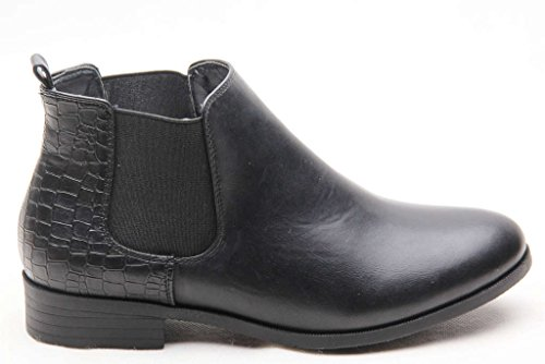 WOMENS LADIES FLAT CHELSEA ANKLE WORK BOOTS CASUAL ELASTIC PULL ON SHOES SIZE UK Black Pu RsfK3CU