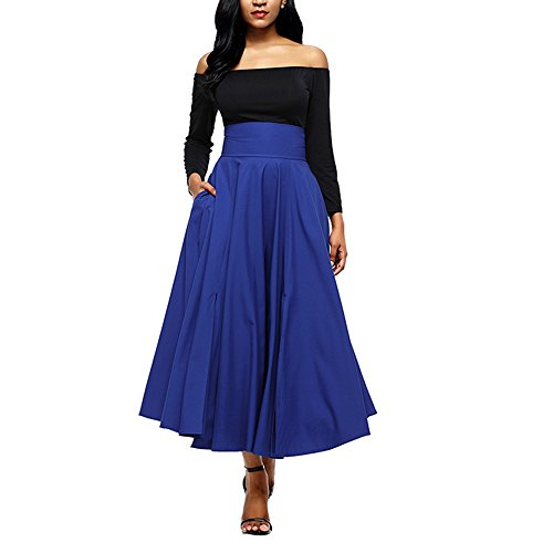 Belted Tweed Skirt - YoungG-3D Autumn Winter Women Gray Retro High Waist Pleated Belted Maxi SkirtBlue Wine Red Black Pink Blue XXL