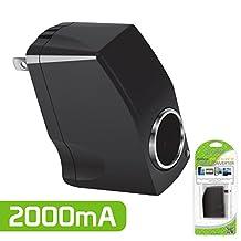 Cellet Universal 2000mA 12V Output AC Wall to DC Car Cigarette Lighter Port Power Converter Female Adapter– Black