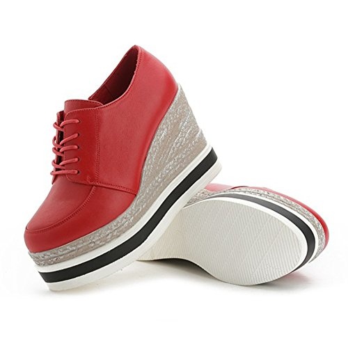 Btrada Womens Lace Up Fashion Sneaker Con Zeppa Stringate Scarpe Casual Causali Impermeabili Rosse