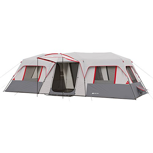 Extra Tall Front Awning with 2 sewn-in room Dividers Instant Red Cabin, Sleep 15-Person