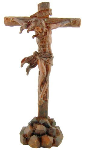 Jesus on Cross the Passion 9 3/4 Inch Woodtone Crucifix Christian Statue Home Decoration