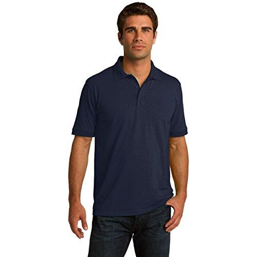 Mens Big & Tall Short Sleeve Jersey Knit Polo Shirt, LT, Deep Navy