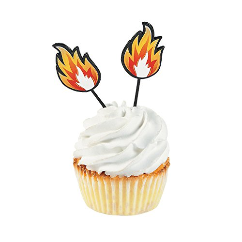 Fun Express - Fire Plastic Picks (25pc) for Birthday - Party Supplies - Serveware & Barware - Picks & Stirrers & Parasols - Birthday - 25 Pieces
