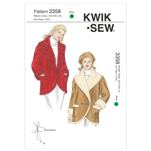 Kwik Sew K3358 Misses Wide Shawl Collar Jacket and Beret,Size XS,S M L XL