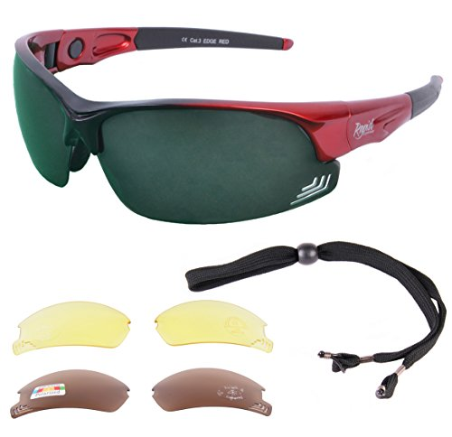 8c355e01e62 Rapid Eyewear Edge Red GOLF SUNGLASSES for Men   Women with Interchangeable  POLARIZED GREEN MIRROR