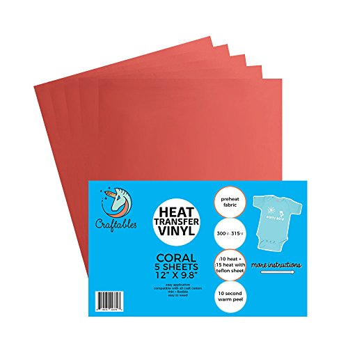 (5) 12 x 9.8 Sheets of Craftables Coral Heat Transfer Vinyl HTV - Easy to Weed Tshirt Iron on Vinyl for Silhouette Cameo, Cricut, All Craft Cutters. Ships Flat, Guaranteed Size