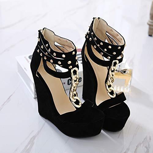 Di Pelle Sandali Sportivi Donna infradito sandali Da Donna sandali Nero Estivi Donna sandali Qualità Infradito Donna Sandalo Scarpe xxPqw81Z