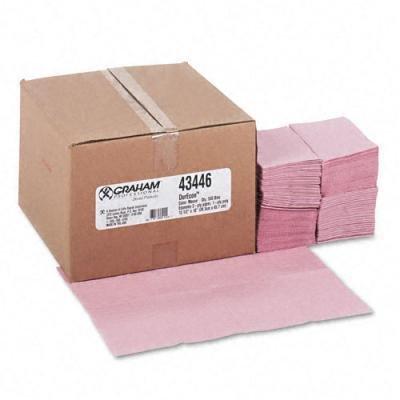 Graham DurEcon Economy Dental Bibs, Poly Tissue, Adult Size, Mauve, 500 per Carton
