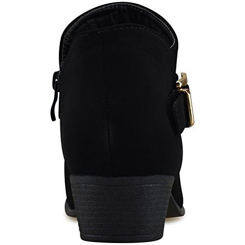 Heel Strappy Bootie Comfortable Toe Premium Black Premier Women's Standard Buckle Walking Low Casual Boot Closed x8EwvYqH