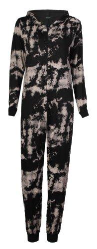 Femme Crâne tribal aztèque Leopard Tie Dye Imprimé Viscose Combinaison (M/L (UK 12–14), noir tie dye)